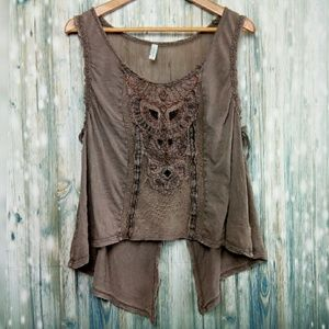 Free people lonesome dove owl tank top